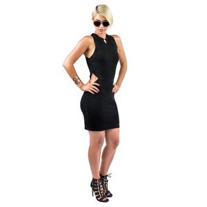 Dresses - Black Knit Side Cut Out Dress